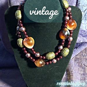 Vntg Cocoa & bronze toned beaded necklace